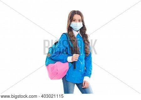 Little Kid In Protective Medical Mask Continue School Education During Covid-19 Pandemic, Back To Sc