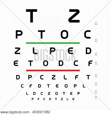 Snellen Chart Template. Table With Letters For An Ophthalmologist Test. Alphabet For Measure Visual