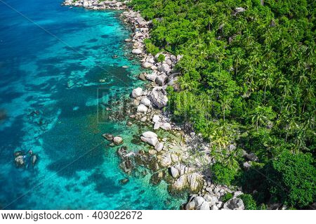 Aerial View Of Stone Coast And Blue Sea, Koh Tao, Thailand