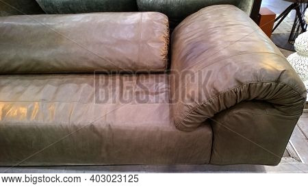 Soft Brown Modern Sofa From Eco Leather Material In Loft Style. Exclusive Comfortable Armchair. Conc