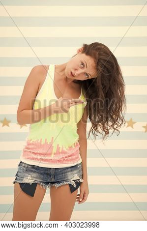 Cool Is My Specialty. Cool Girl Point Fingers At Long Hair. Beauty Salon. Fashion And Style. Cool An