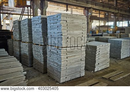 Manufacturing Concrete Slabs. Reinforced Concrete Production. Workers Working With Metal, Welding Re