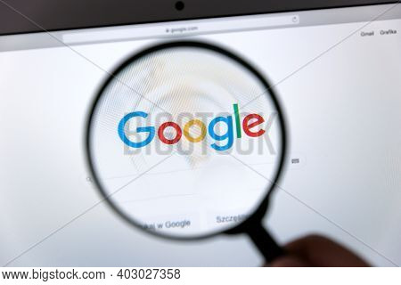 Wroclaw, Poland - Dec 2, 2020: Google Logo Through A Magnifying Glass. Google Is Most Popular Web Se