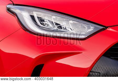 Front Light Of A Red Car, Led Technology