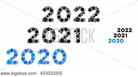 2020 - 2022 Years Composition Of Circle Elements In Different Sizes And Color Tints. Vector Circle E