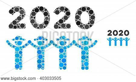 2020 Gentlemen Dance Collage Of Round Dots In Different Sizes And Color Hues. Vector Round Dots Are