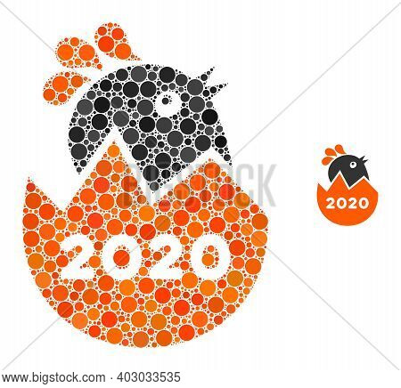 2020 Hatch Chick Collage Of Round Dots In Various Sizes And Color Hues. Vector Round Dots Are Groupe