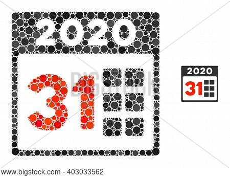 2020 Last Day Composition Of Filled Circles In Variable Sizes And Color Tints. Vector Filled Circles
