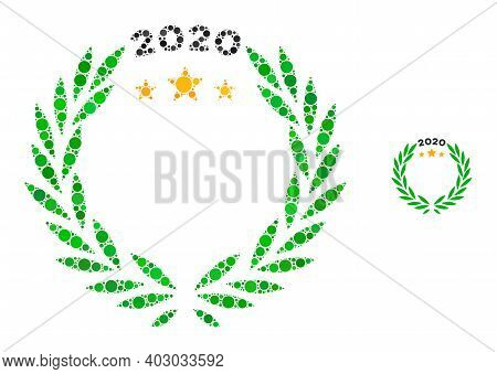 2020 Laurel Wreath Collage Of Round Dots In Variable Sizes And Color Tints. Vector Round Dots Are Co