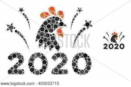 2020 Rooster Fireworks Composition Of Round Dots In Variable Sizes And Color Tones. Vector Round Dot
