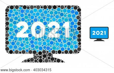 2021 Display Screen Mosaic Of Filled Circles In Various Sizes And Color Hues. Vector Filled Circles