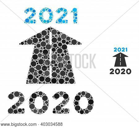 2021 Future Road Collage Of Circle Elements In Different Sizes And Shades. Vector Circle Elements Ar