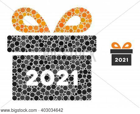 2021 Gift Composition Of Round Dots In Variable Sizes And Color Hues. Vector Dots Are Composed Into