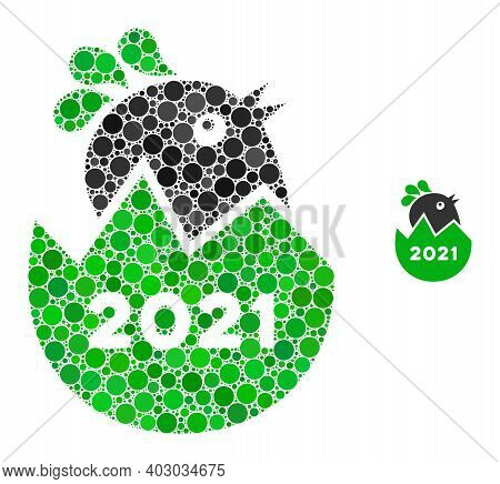 2021 Hatch Chick Composition Of Filled Circles In Variable Sizes And Shades. Vector Filled Circles A