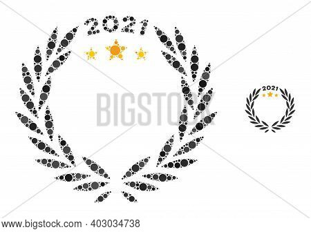 2021 Laurel Wreath Composition Of Round Dots In Different Sizes And Shades. Vector Round Dots Are Co