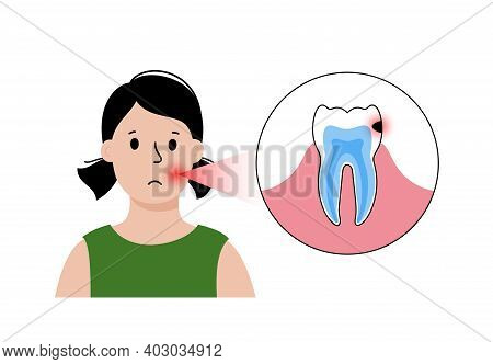 Child Dental Care Concept. Girl In Stomatology Clinic, Toothache Problem. Tooth Anatomy Isolated Fla