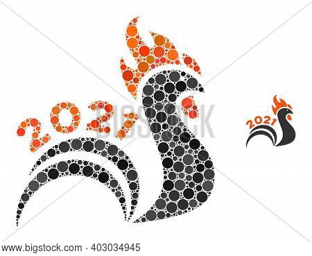 2021 Rooster Tail Mosaic Of Circle Elements In Various Sizes And Color Tints. Vector Circle Elements