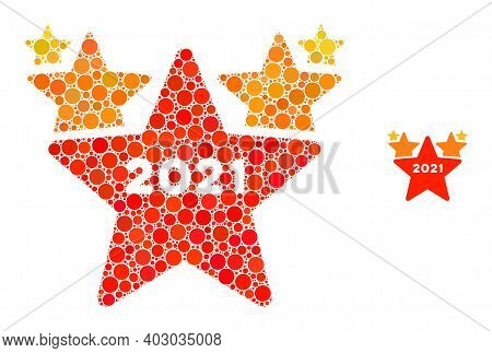 2021 Star Hit Parade Composition Of Circle Elements In Variable Sizes And Color Tints. Vector Circle