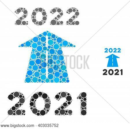 2022 Future Road Collage Of Circle Elements In Various Sizes And Color Tones. Vector Round Elements