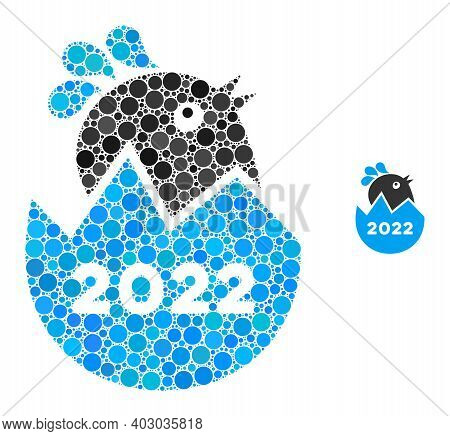 2022 Hatch Chick Composition Of Round Pixels In Variable Sizes And Color Tones. Vector Round Element