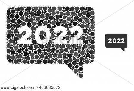 2022 Message Mosaic Of Filled Circles In Different Sizes And Color Tinges. Vector Filled Circles Are