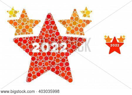 2022 Star Hit Parade Mosaic Of Filled Circles In Various Sizes And Shades. Vector Filled Circles Are