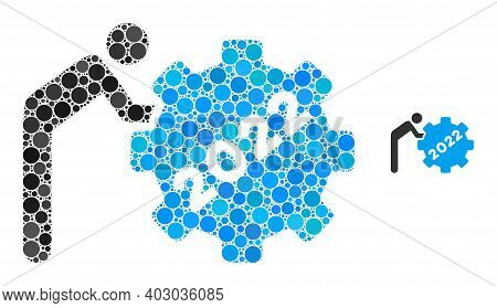 2022 Worker Rolling Gear Composition Of Dots In Various Sizes And Color Tints. Vector Round Dots Are