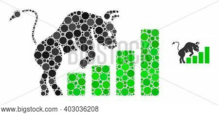 Bullish Market Chart Mosaic Of Dots In Different Sizes And Color Hues. Vector Round Dots Are Combine