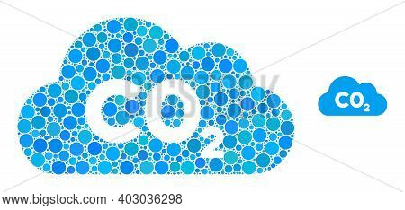 Co2 Gas Cloud Mosaic Of Round Pixels In Variable Sizes And Color Tinges. Vector Round Dots Are Unite