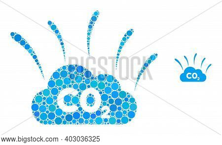 Co2 Smoke Emission Composition Of Filled Circles In Different Sizes And Color Tints. Vector Filled C