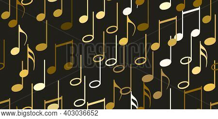 Seamless Flying Musical Notes On Black. Musical Symbols For Banner Of Festival, Print Design, Melody