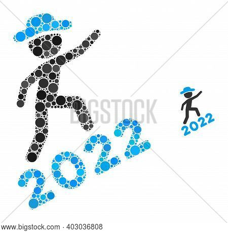 Gentleman Climbing 2022 Collage Of Filled Circles In Different Sizes And Color Tones. Vector Filled
