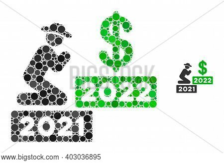 Gentleman Pray Dollar 2022 Composition Of Circle Elements In Different Sizes And Color Hues. Vector