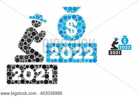 Gentleman Pray For Money 2022 Composition Of Round Pixels In Various Sizes And Color Tones. Vector D