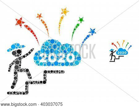 Gentleman Steps To 2020 Fireworks Collage Of Filled Circles In Various Sizes And Shades. Vector Fill