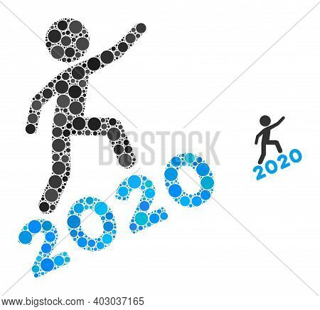 Man Climbing 2020 Composition Of Filled Circles In Variable Sizes And Color Tones. Vector Filled Cir