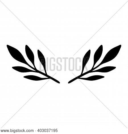 Leaves Branch. Black On White Hand Drawn Vector Branch With Leaves. Floral Simple Illustration. Bota