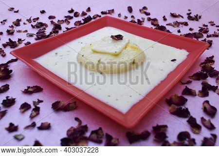 Rasmalai An Indian Dessert, Pakistani Sweet Item Made Of Milk, Panner Type Very Soft And Tasty Toppe