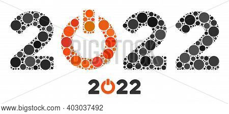 Start 2022 Caption Mosaic Of Circle Elements In Various Sizes And Color Tints. Vector Round Elements