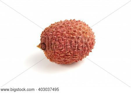 Sweet Ripe Lychee Fruit Isolated On White Background. Close Up View.