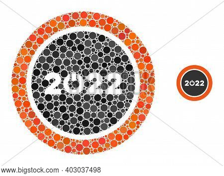 Start 2022 Round Button Composition Of Round Dots In Various Sizes And Shades. Vector Round Elements