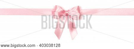 Beautiful Pink Satin Ribbon With Bow Isolated On White.