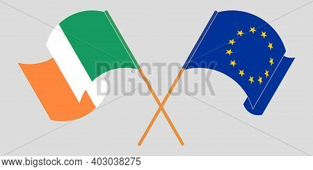 Crossed And Waving Flags Of Ireland And The Eu. Vector Illustration