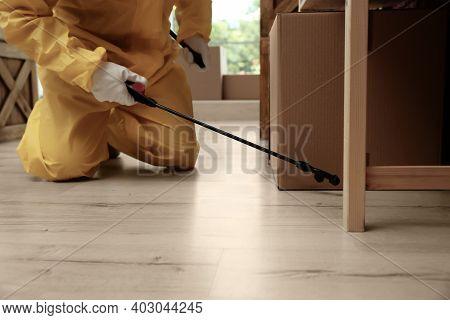 Pest Control Worker Spraying Pesticide Indoors, Closeup