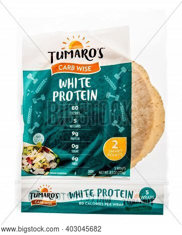 Winneconne, Wi -9 January 2021: A Package Of Tumaros Carb Wise Soft Tortilla Shell On An Isolated Ba
