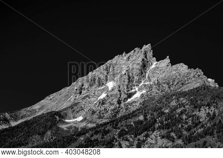 Black And White Grand Tetons With High Contrast Effect