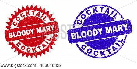 Round And Rosette Cocktail Bloody Mary Seal Stamps. Flat Vector Textured Seal Stamps With Cocktail B