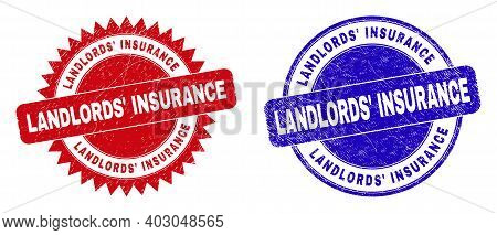 Round And Rosette Landlords Insurance Seal Stamps. Flat Vector Grunge Seal Stamps With Landlords Ins