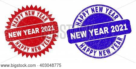 Round And Rosette Happy New Year New Year 2021 Stamps. Flat Vector Scratched Seal Stamps With Happy