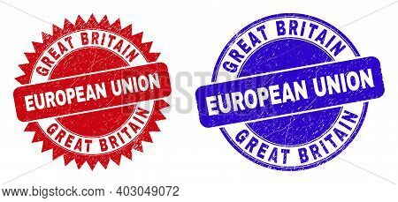Rounded And Rosette Great Britain European Union Watermarks. Flat Vector Textured Watermarks With Gr